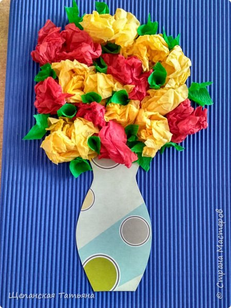 Открытка на 8 марта цветы из салфеток