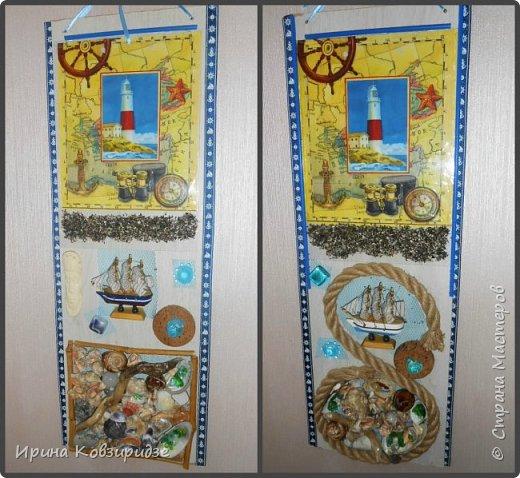 Начала потихоньку делать новые работы для новой выставки. Скопились у меня куски ламинированной панели ДВП. Придумала, как из них делать интересные панно.(70х25) Это 2 панно на морскую тему. фото 1