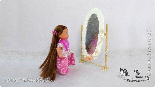 Продолжаю создавать кукольный мир. Сделала зеркало для кукол. Оно подвижное.  Подходит для кукол Барби и Эви. Мне очень нравится делать такие маленькие вещи.  Это так здорово - любить своё дело:) фото 3