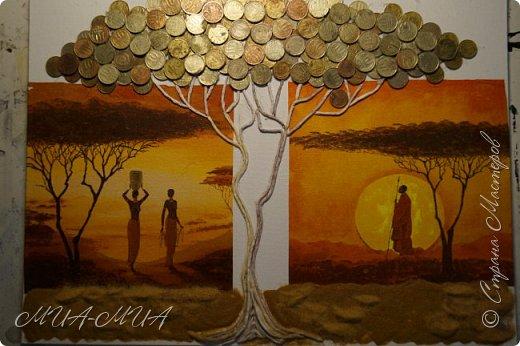 Доброго времени суток Мастера и Мастерицы!  Предлагаю вашему вниманию третий дубль денежного дерева в стиле этно. Очень мне понравились яркие африканские салфетки, у многих мастериц видела такие.  Решила и себе завести немного Африки. фото 3
