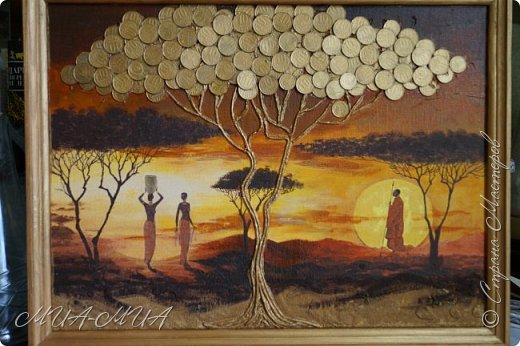 Доброго времени суток Мастера и Мастерицы!  Предлагаю вашему вниманию третий дубль денежного дерева в стиле этно. Очень мне понравились яркие африканские салфетки, у многих мастериц видела такие.  Решила и себе завести немного Африки. фото 1