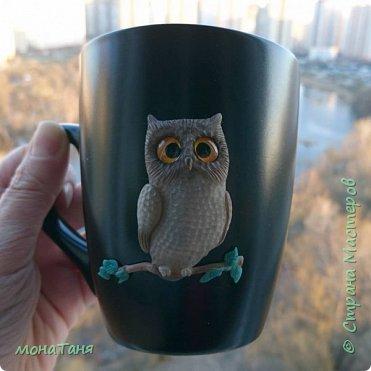 Чашка с совой декорированная полимерной глиной фото 1