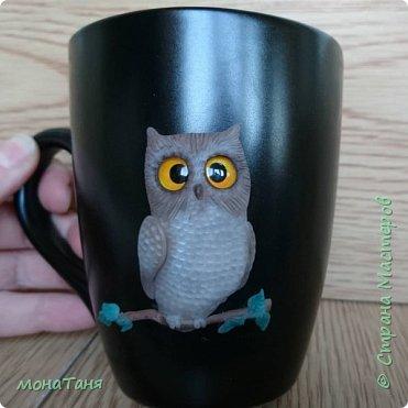 Чашка с совой декорированная полимерной глиной фото 2