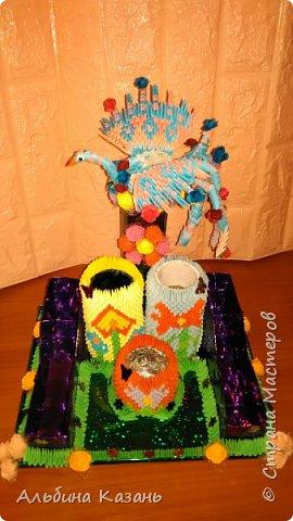 Органайзер для канцтоваров,украшенный павлином и розочками.Элизе 8лет фото 2