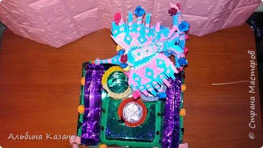 Органайзер для канцтоваров,украшенный павлином и розочками.Элизе 8лет фото 3