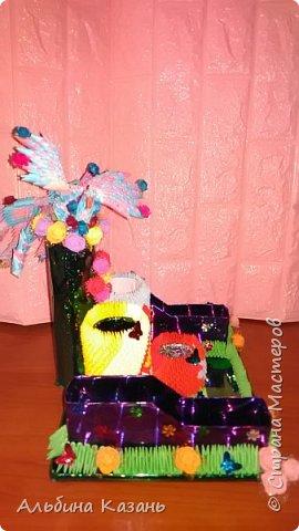 Органайзер для канцтоваров,украшенный павлином и розочками.Элизе 8лет фото 5