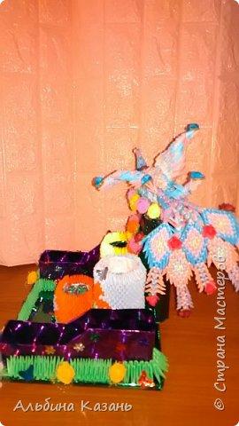 Органайзер для канцтоваров,украшенный павлином и розочками.Элизе 8лет фото 8