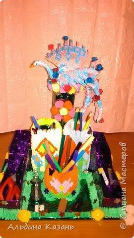 Органайзер для канцтоваров,украшенный павлином и розочками.Элизе 8лет фото 13