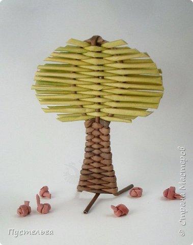 """Это ёлочка и яблонька для моих юных мастеров. Трубочки скручены из трети листа потребительской бумаги """"Кондопога"""" на спицу 1,2 мм. Ёлочка - 4 коричневых, 9 зелёных трубочек. Яблоня - 6 коричневых, 10 зелёных, 2 красные трубочки. Подставочки 3 + 3 трубочки. Основы сухие, остальные трубочки слегка влажные. фото 19"""