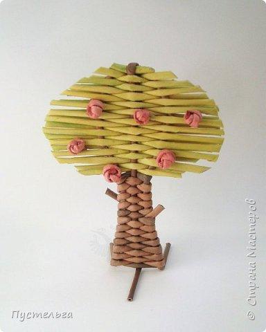 """Это ёлочка и яблонька для моих юных мастеров. Трубочки скручены из трети листа потребительской бумаги """"Кондопога"""" на спицу 1,2 мм. Ёлочка - 4 коричневых, 9 зелёных трубочек. Яблоня - 6 коричневых, 10 зелёных, 2 красные трубочки. Подставочки 3 + 3 трубочки. Основы сухие, остальные трубочки слегка влажные. фото 20"""