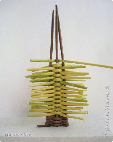 """Это ёлочка и яблонька для моих юных мастеров. Трубочки скручены из трети листа потребительской бумаги """"Кондопога"""" на спицу 1,2 мм. Ёлочка - 4 коричневых, 9 зелёных трубочек. Яблоня - 6 коричневых, 10 зелёных, 2 красные трубочки. Подставочки 3 + 3 трубочки. Основы сухие, остальные трубочки слегка влажные. фото 7"""