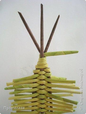 """Это ёлочка и яблонька для моих юных мастеров. Трубочки скручены из трети листа потребительской бумаги """"Кондопога"""" на спицу 1,2 мм. Ёлочка - 4 коричневых, 9 зелёных трубочек. Яблоня - 6 коричневых, 10 зелёных, 2 красные трубочки. Подставочки 3 + 3 трубочки. Основы сухие, остальные трубочки слегка влажные. фото 9"""