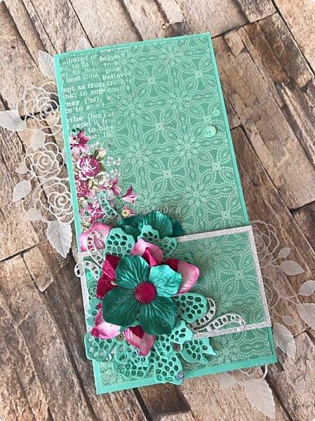 Тружусь по чуть-чуть:) Видела в сети элегантно стильную шоколадницу из этого листа бумаги от скрапберис  и планировала повторить :) Но сделала открытку  в своем духе;) фото 1