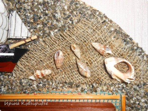 Два панно на морскую тему. Основа- круги ДВП-диаметром 32 и 34 см. На основу на клей ПВА насыпан морской песок (с Чёрного моря) фото 8