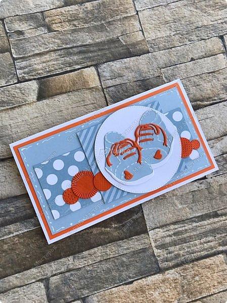 В студии часто меня спрашивают, а почему я не делаю открытки для малышей, отвечаю, что нет ножей:))  А тут увидела нож и он меня очаровал:) Вырубка хорошего размера, детальки  милые....  Наклеила и навырубала  пинеток разных, теперь их пристраиваю на открытки:) Открытка  номер раз:) . Девичья. фото 5