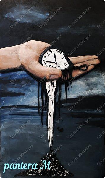 "Картина из кожи ""Время"" фото 1"