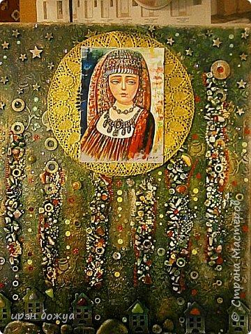 Это панно сделано в подарок женщине с армянскими корнями. Работа выполнена по мотивам работ Ольги  Кравец. В окончательном варианте фото оформила в красную рамочку. Фото добавлю потом. фото 1