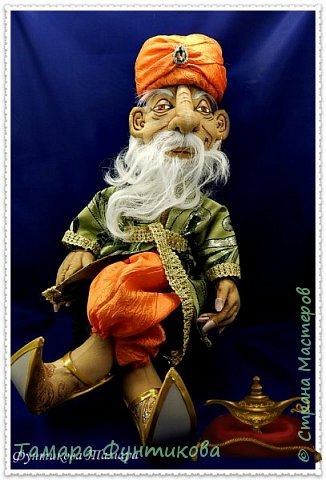 Сказочный герой  - старик Хоттабыч, выполнен в технике грунтованный текстиль.  Одежда вся съёмная.  Роспись лица гуашью. Борода из тресс  искусственных карнавальных париков  фото 1
