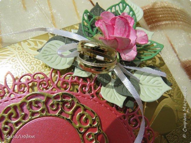 Всем доброго времени суток! Здравствуйте и процветайте! Сегодня хочу показать вам открытки на свадебный юбилей 50 лет - Золотая свадьба. Эти открытки делала по обмену на вышитые метрики для моих внучек. фото 4