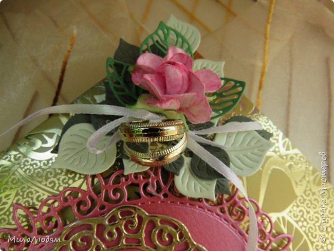 Всем доброго времени суток! Здравствуйте и процветайте! Сегодня хочу показать вам открытки на свадебный юбилей 50 лет - Золотая свадьба. Эти открытки делала по обмену на вышитые метрики для моих внучек. фото 6