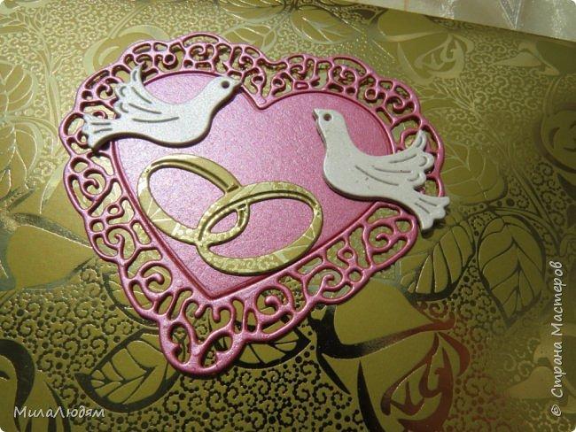 Всем доброго времени суток! Здравствуйте и процветайте! Сегодня хочу показать вам открытки на свадебный юбилей 50 лет - Золотая свадьба. Эти открытки делала по обмену на вышитые метрики для моих внучек. фото 13