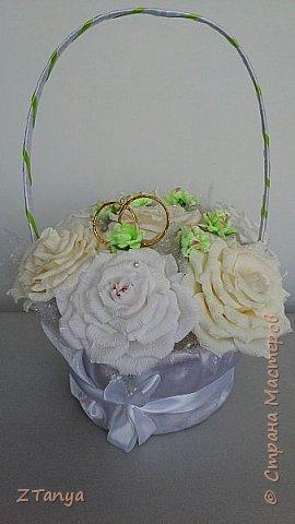Вот заказали недорогую корзину на свадьбу. В реале ,конечно, она выглядит намного лучше. Конфет меньше, цветы крупнее. фото 2