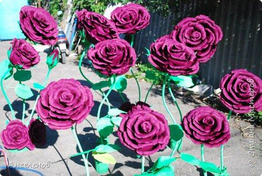 Роза из бумаги.Высота 150 см,диаметр цветка 55 см фото 7