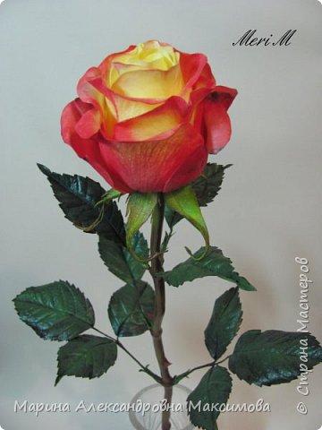 Роза сделана из зефирного фоамирана, стебель - из глины.  фото 2