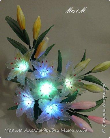 """Светильник """"Лилии"""" переливается плавно разными цветами.  фото 2"""