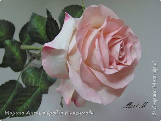 Роза сделана из зефирного фоамирана, стебель - из глины.  фото 7