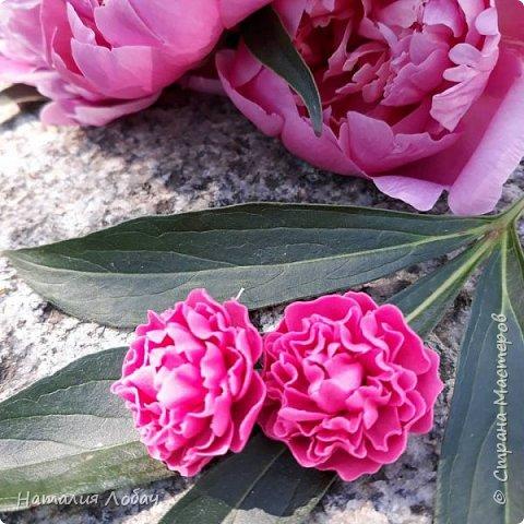 ПИОНЫ... Серьги с цветами из полимерной глины!) Фурнитура - серебро 925 пробы. фото 3