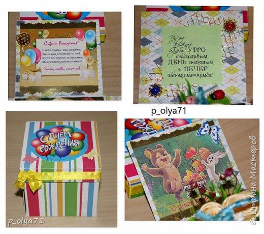 Здравствуйте!!!! Почти 2 недели занималась коробочками,очень мне понравилось их делать,приготовила в подарки на дни рождения,некоторые уже подарены.  Использовала: акварельная бумага(основа),скрапбумага(кстати,случайно увидела наборы в ФиксПрайсе,взяла на пробу - хорошая бумага по такой очень доступной цене!),офисная цветная бумага(распечатывала пожелания,делала цветы),фотобумага(картинки из инета),ленты(самодельные розы в корзиночках и банты на коробочках),искусственная зелень (в корзиночках),сизаль,различные наклейки для декора(шарики воздушные,бантики..) фото 33