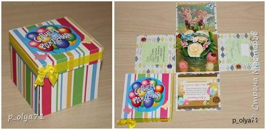 Здравствуйте!!!! Почти 2 недели занималась коробочками,очень мне понравилось их делать,приготовила в подарки на дни рождения,некоторые уже подарены.  Использовала: акварельная бумага(основа),скрапбумага(кстати,случайно увидела наборы в ФиксПрайсе,взяла на пробу - хорошая бумага по такой очень доступной цене!),офисная цветная бумага(распечатывала пожелания,делала цветы),фотобумага(картинки из инета),ленты(самодельные розы в корзиночках и банты на коробочках),искусственная зелень (в корзиночках),сизаль,различные наклейки для декора(шарики воздушные,бантики..) фото 31