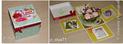 Здравствуйте!!!! Почти 2 недели занималась коробочками,очень мне понравилось их делать,приготовила в подарки на дни рождения,некоторые уже подарены.  Использовала: акварельная бумага(основа),скрапбумага(кстати,случайно увидела наборы в ФиксПрайсе,взяла на пробу - хорошая бумага по такой очень доступной цене!),офисная цветная бумага(распечатывала пожелания,делала цветы),фотобумага(картинки из инета),ленты(самодельные розы в корзиночках и банты на коробочках),искусственная зелень (в корзиночках),сизаль,различные наклейки для декора(шарики воздушные,бантики..) фото 40
