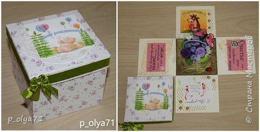 Здравствуйте!!!! Почти 2 недели занималась коробочками,очень мне понравилось их делать,приготовила в подарки на дни рождения,некоторые уже подарены.  Использовала: акварельная бумага(основа),скрапбумага(кстати,случайно увидела наборы в ФиксПрайсе,взяла на пробу - хорошая бумага по такой очень доступной цене!),офисная цветная бумага(распечатывала пожелания,делала цветы),фотобумага(картинки из инета),ленты(самодельные розы в корзиночках и банты на коробочках),искусственная зелень (в корзиночках),сизаль,различные наклейки для декора(шарики воздушные,бантики..) фото 19
