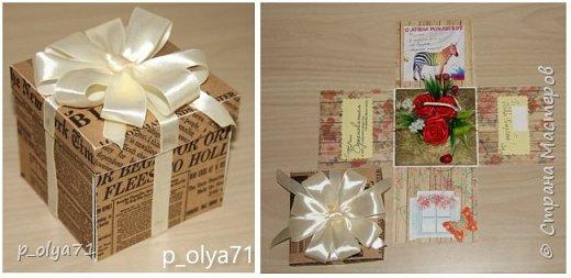 Здравствуйте!!!! Почти 2 недели занималась коробочками,очень мне понравилось их делать,приготовила в подарки на дни рождения,некоторые уже подарены.  Использовала: акварельная бумага(основа),скрапбумага(кстати,случайно увидела наборы в ФиксПрайсе,взяла на пробу - хорошая бумага по такой очень доступной цене!),офисная цветная бумага(распечатывала пожелания,делала цветы),фотобумага(картинки из инета),ленты(самодельные розы в корзиночках и банты на коробочках),искусственная зелень (в корзиночках),сизаль,различные наклейки для декора(шарики воздушные,бантики..) фото 16