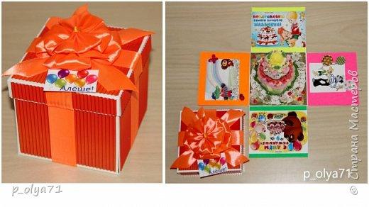 Здравствуйте!!!! Почти 2 недели занималась коробочками,очень мне понравилось их делать,приготовила в подарки на дни рождения,некоторые уже подарены.  Использовала: акварельная бумага(основа),скрапбумага(кстати,случайно увидела наборы в ФиксПрайсе,взяла на пробу - хорошая бумага по такой очень доступной цене!),офисная цветная бумага(распечатывала пожелания,делала цветы),фотобумага(картинки из инета),ленты(самодельные розы в корзиночках и банты на коробочках),искусственная зелень (в корзиночках),сизаль,различные наклейки для декора(шарики воздушные,бантики..) фото 42