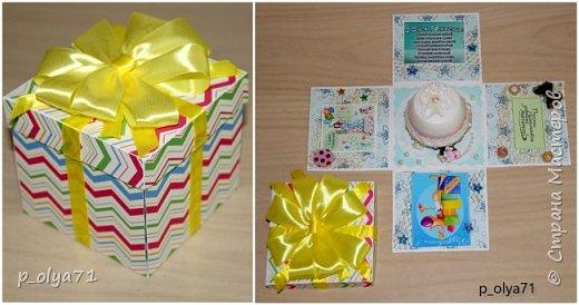 Здравствуйте!!!! Почти 2 недели занималась коробочками,очень мне понравилось их делать,приготовила в подарки на дни рождения,некоторые уже подарены.  Использовала: акварельная бумага(основа),скрапбумага(кстати,случайно увидела наборы в ФиксПрайсе,взяла на пробу - хорошая бумага по такой очень доступной цене!),офисная цветная бумага(распечатывала пожелания,делала цветы),фотобумага(картинки из инета),ленты(самодельные розы в корзиночках и банты на коробочках),искусственная зелень (в корзиночках),сизаль,различные наклейки для декора(шарики воздушные,бантики..) фото 48