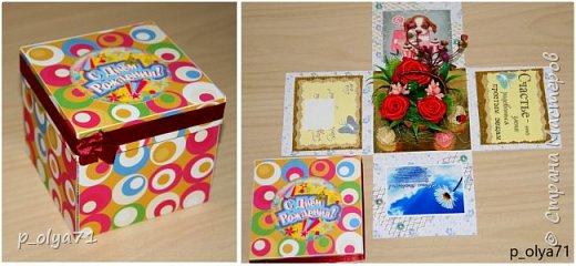 Здравствуйте!!!! Почти 2 недели занималась коробочками,очень мне понравилось их делать,приготовила в подарки на дни рождения,некоторые уже подарены.  Использовала: акварельная бумага(основа),скрапбумага(кстати,случайно увидела наборы в ФиксПрайсе,взяла на пробу - хорошая бумага по такой очень доступной цене!),офисная цветная бумага(распечатывала пожелания,делала цветы),фотобумага(картинки из инета),ленты(самодельные розы в корзиночках и банты на коробочках),искусственная зелень (в корзиночках),сизаль,различные наклейки для декора(шарики воздушные,бантики..) фото 21
