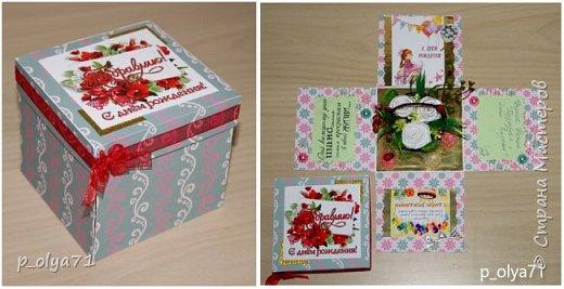 Здравствуйте!!!! Почти 2 недели занималась коробочками,очень мне понравилось их делать,приготовила в подарки на дни рождения,некоторые уже подарены.  Использовала: акварельная бумага(основа),скрапбумага(кстати,случайно увидела наборы в ФиксПрайсе,взяла на пробу - хорошая бумага по такой очень доступной цене!),офисная цветная бумага(распечатывала пожелания,делала цветы),фотобумага(картинки из инета),ленты(самодельные розы в корзиночках и банты на коробочках),искусственная зелень (в корзиночках),сизаль,различные наклейки для декора(шарики воздушные,бантики..) фото 28