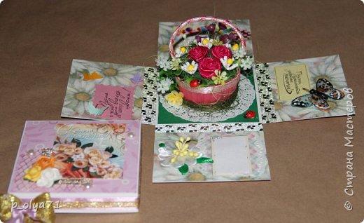 Здравствуйте!!!! Почти 2 недели занималась коробочками,очень мне понравилось их делать,приготовила в подарки на дни рождения,некоторые уже подарены.  Использовала: акварельная бумага(основа),скрапбумага(кстати,случайно увидела наборы в ФиксПрайсе,взяла на пробу - хорошая бумага по такой очень доступной цене!),офисная цветная бумага(распечатывала пожелания,делала цветы),фотобумага(картинки из инета),ленты(самодельные розы в корзиночках и банты на коробочках),искусственная зелень (в корзиночках),сизаль,различные наклейки для декора(шарики воздушные,бантики..) фото 10
