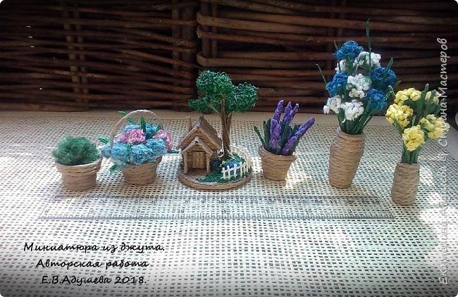 Джутовые миниатюры, домик в деревне.  фото 14