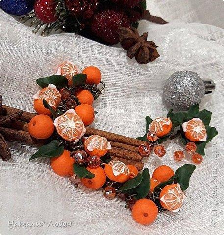 Браслет с мандаринами из запекаемой полимерной глины) фото 1