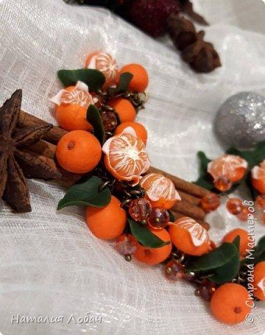 Браслет с мандаринами из запекаемой полимерной глины) фото 2