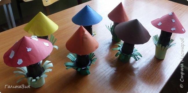 Всем добрый день!!! В школьном лагере с ребятами начальной школы делали грибы из бумаги и бросового материала (мои образцы здесь https://stranamasterov.ru/node/1147288). Работы ребят. фото 2