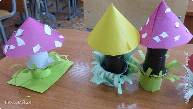 Всем добрый день!!! В школьном лагере с ребятами начальной школы делали грибы из бумаги и бросового материала (мои образцы здесь https://stranamasterov.ru/node/1147288). Работы ребят. фото 9
