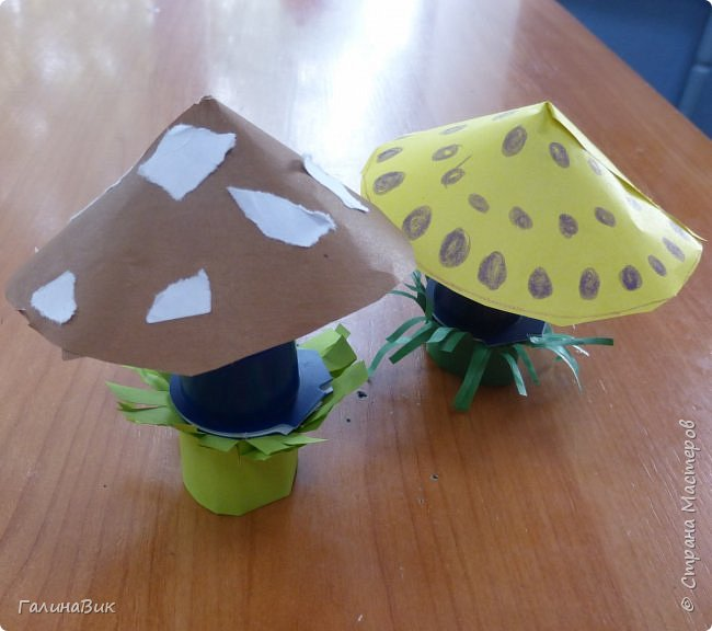 Всем добрый день!!! В школьном лагере с ребятами начальной школы делали грибы из бумаги и бросового материала (мои образцы здесь https://stranamasterov.ru/node/1147288). Работы ребят. фото 11