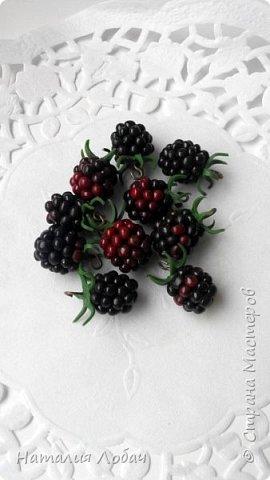 Браслет и серьги из полимерной глины с розами и ягодами ежевики. фото 3