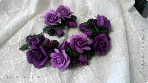 Браслет и серьги из полимерной глины с розами и ягодами ежевики. фото 1