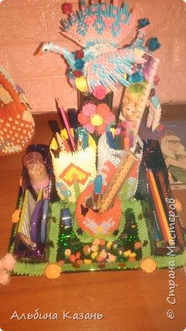 Органайзер для канцтоваров,украшенный павлином и розочками.Элизе 8лет фото 16